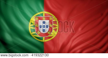 3d Rendering Of A Detail Of A Silked Portugal Flag