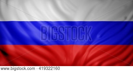 3d Rendering Of A Detail Of A Silked Russian Federation Flag