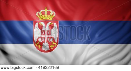 3d Rendering Of A Detail Of A Silked Serbia Flag