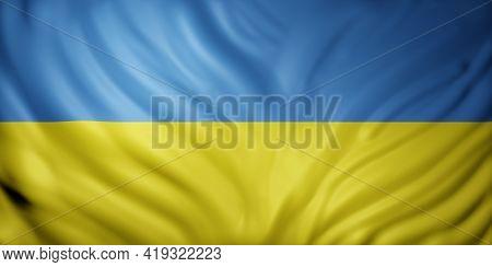 3d Rendering Of A Detailed Ukraine Flag