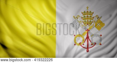 3d Rendering Of A Detailed Vatican Flag