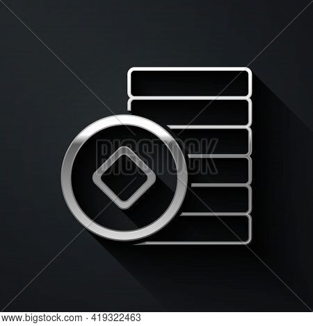 Silver Chinese Yuan Currency Symbol Icon Isolated On Black Background. Coin Money. Banking Currency