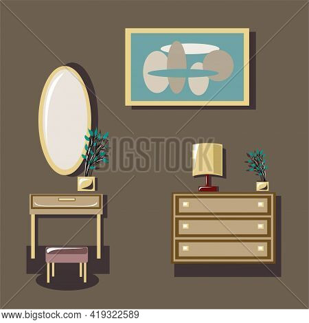 A Set Of Furniture, Accessories For The Interior. Room, Bedroom, Interior. Chest Of Drawers, Console