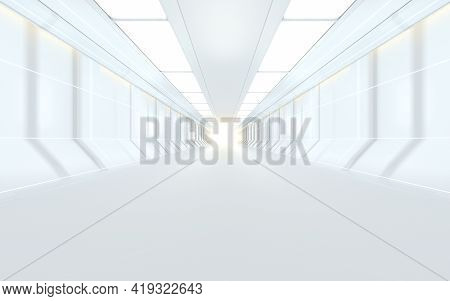 White Science Fiction Tunnel, 3D Rendering.