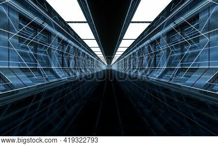 Dark Science Fiction Tunnel, 3D Rendering.