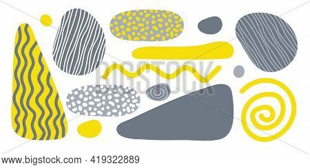 Abstract Geometrical Shape Set. Hand Drawn Various Shapes In Trend Colors Yellow And Gray. For Wall