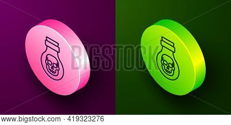 Isometric Line Poison In Bottle Icon Isolated On Purple And Green Background. Bottle Of Poison Or Po