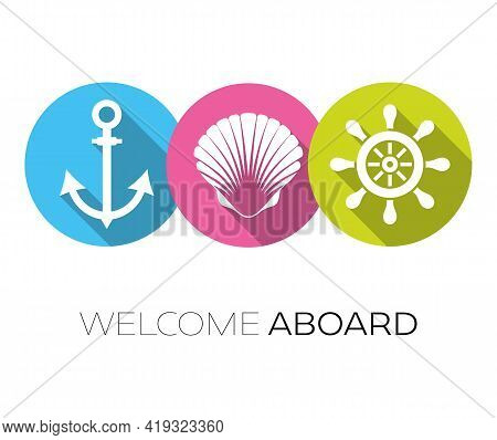 Vector Welcome Aboard Design With Marine Icons