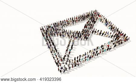 Concept conceptual large community of people forming the image of  email sign. 3d illustration metaphor for communication, contact, business, online marketing and technology