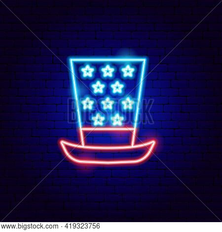 Uncle Sam Hat Neon Sign. Vector Illustration Of American Promotion.