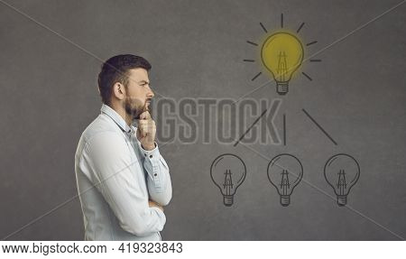 Thinking Adult Caucasian Man Try To Find Idea Or Problem Solution Profile Photo