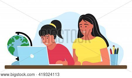 Girl Studying Online Education At Home Cartoon Vector Illustration. Student Workplace Desktop Comput