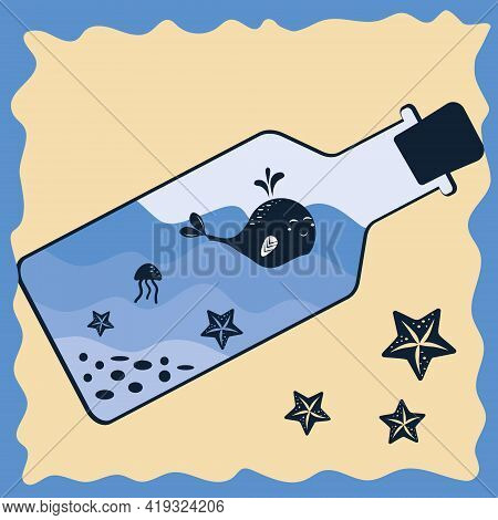 Small Whale In A Bottle With Waves Of Shells And Jellyfish Color Vector Illustration In The Style Of