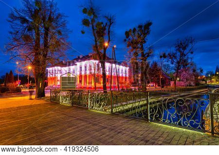Red and white illumination at the Constitution Day on May 3 on the  City Hall building in Pruszcz Gda?ski. Poland