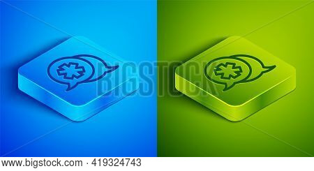 Isometric Line Dialogue With The Doctor Icon Isolated On Blue And Green Background. Doctor And Patie