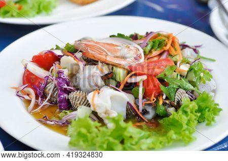 Spicy Salad Or Spicy Seafood Salad, Thai Spicy Salad