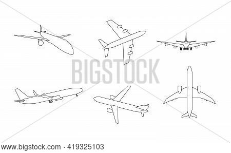 Silhouette Of Black And White Aircraft In The Sky, Isolated. Vector Illustration