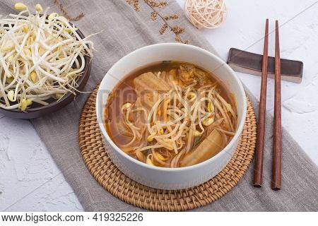 Korean Food Kimchi With Bean Sprouts Soup.