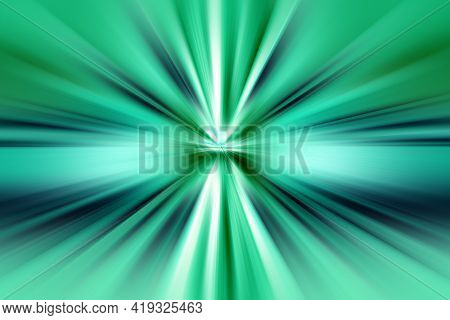 Abstract Radial Zoom Blur Surface Of   Turquoise, Green And Blue Tones. Abstract Soft Turquoise-gree