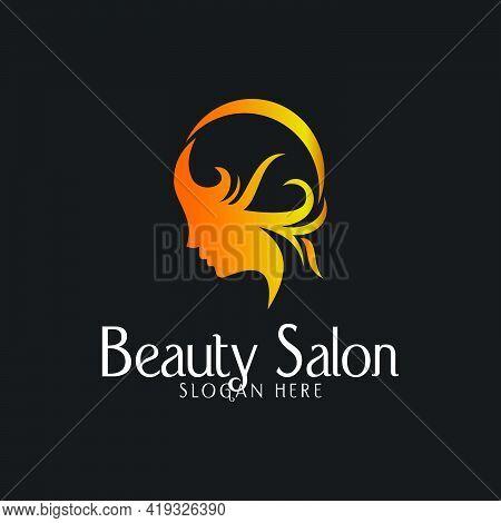Logo Design For Beauty Salon Illustration Woman Face Beauty Feminine And White Background Modern Vec