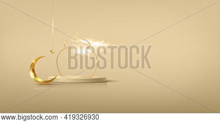 Luxury Islamic Podium With Gold Crescent Moon, Traditional Islamic Window Frame. 3d Horizontal Arabi