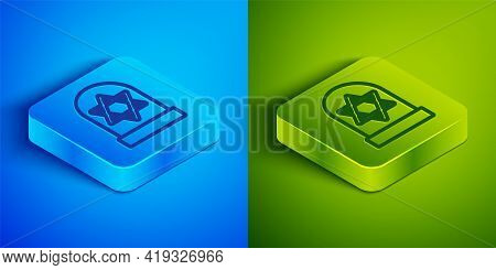 Isometric Line Tombstone With Star Of David Icon Isolated On Blue And Green Background. Jewish Grave