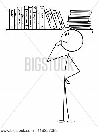 Person Choosing Book To Read From Bookcase, Vector Cartoon Stick Figure Illustration