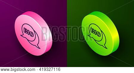 Isometric Line Bio Green Healthy Food Icon Isolated On Purple And Green Background. Organic Product.
