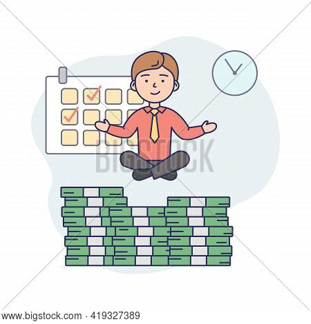 Business Life Concept Illustration In Cartoon Style. Vector Composition With Male Character And Elem