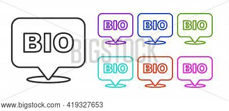 Black Line Bio Green Healthy Food Icon Isolated On White Background. Organic Product. Healthy Food S