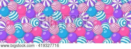 Seamless Pattern With Pile Of Striped Balls, Bubble Gum, Round Candies Or Beach Bouncy Spheres. Vect