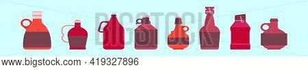 Set Of Beer Growler Bottle Cartoon Icon Design Template With Various Models. Modern Vector Illustrat