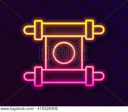 Glowing Neon Line Decree, Paper, Parchment, Scroll Icon Icon Isolated On Black Background. Chinese S