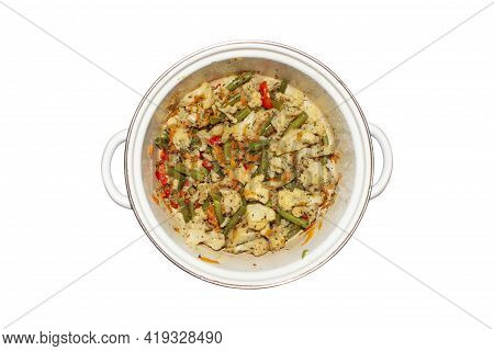 Stewed Cauliflower With String Beans In A Saucepan On A White Background.stewed Vegetables With Seas