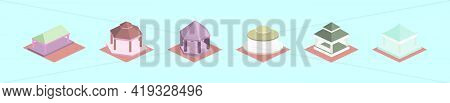 Set Of Gazebo Cartoon Icon Design Template With Various Models. Modern Vector Illustration Isolated