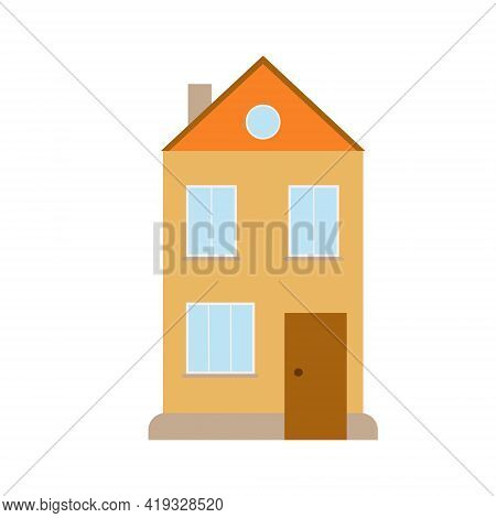 Cute Little Detached House Simple Flat Style Vector Illustration, Cozy Home Concept, Poster For Chil