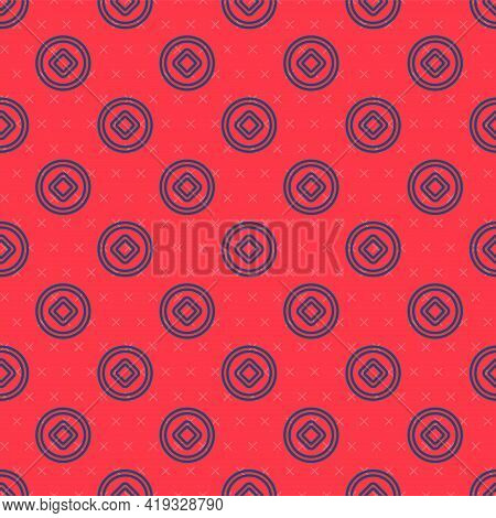 Blue Line Chinese Yuan Currency Symbol Icon Isolated Seamless Pattern On Red Background. Coin Money.