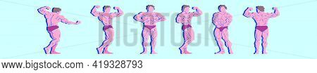 Set Of Flexing Cartoon Icon Design Template With Various Models. Modern Vector Illustration Isolated