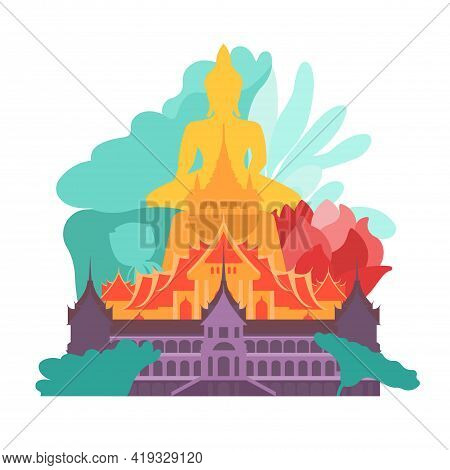Thailand. View From Bangkok Temples And Buddha In Green Tropical Trees. Travel Poster. Vector Illust