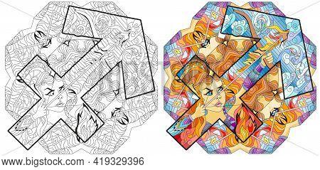 Sagittarius Zodiac Sign With Mandala, Astrology Concept Art. Tattoo Design. Color And Outline Set