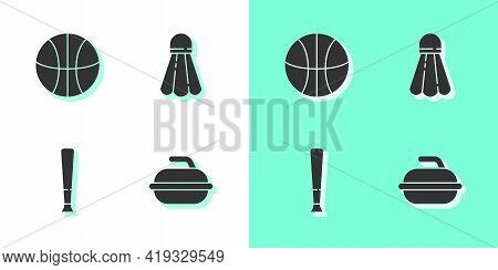 Set Stone For Curling Sport Game, Basketball Ball, Baseball Bat And Badminton Shuttlecock Icon. Vect