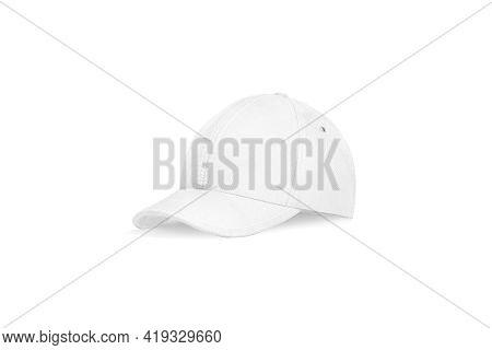 Blank White Baseball Cap Mockup, Half-turned View, 3d Rendering. Empty Sporty Team Head Wear Mock Up