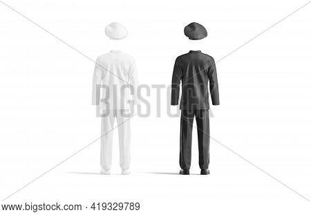 Blank Black And White Chef Uniform Mockup, Back View, 3d Rendering. Empty Chief-cooker Protective Co