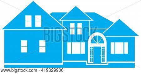 Blue House Builder Real Estate Design Logo