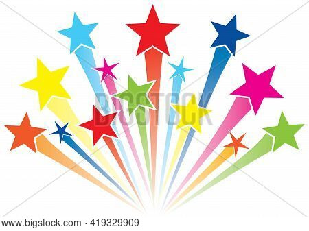 Colorful Shooting Star Logo Graphic Fireworks Stars