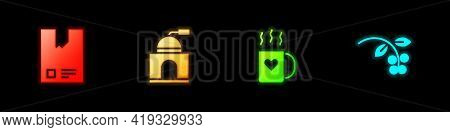 Set Bag Of Coffee Beans, Manual Grinder, Coffee Cup And Heart And Bean, Branch Icon. Vector
