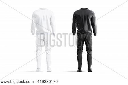 Blank Black And White Sport Tracksuit With Bomber, Pants Mockup, 3d Rendering. Empty Male Outwear Un