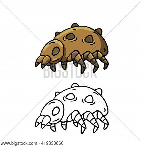 Flea. Cartoon Louse. Harmful Blood-sucking Insect. Scabies And Itching.