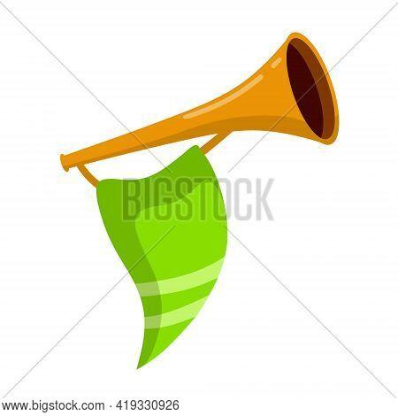 Musical Instrument. Trumpet. Golden Horn With Flag. Solemn Event. Element Of Celebration And Awards.