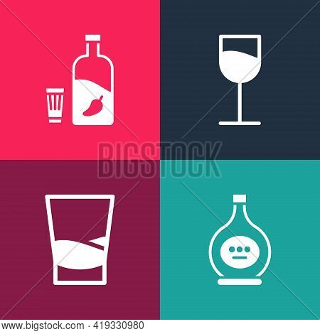 Set Pop Art Bottle Of Cognac Or Brandy, Glass Vodka, Wine Glass And Vodka With Pepper Icon. Vector